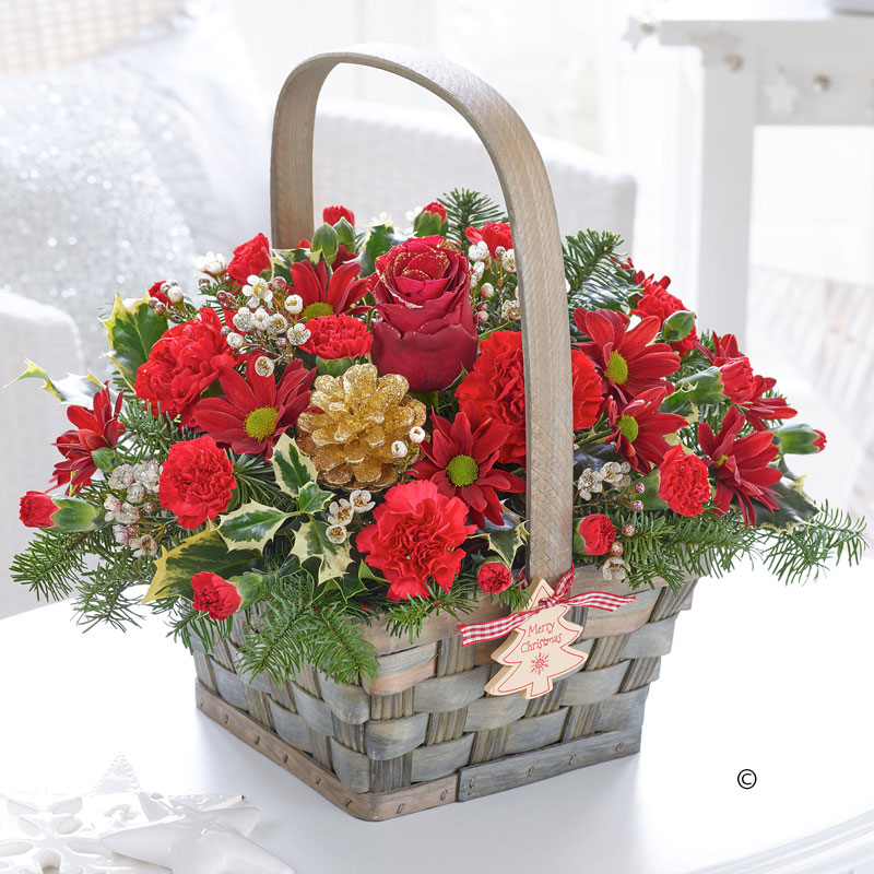 festive charm christmas basket in red and gold gallagher flowers