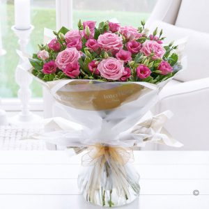 Pink Lisianthus & Rose Hand-tied