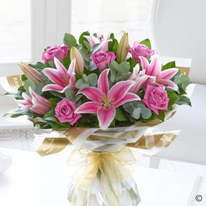 Mother's Day Pink Rose & Lily Hand-tied