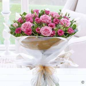 Mother's Day Pink Lisianthus & Rose Hand-tied Bouquet