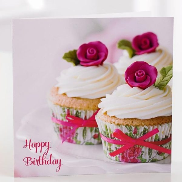 Happy Birthday Cup Cake Greeting Card
