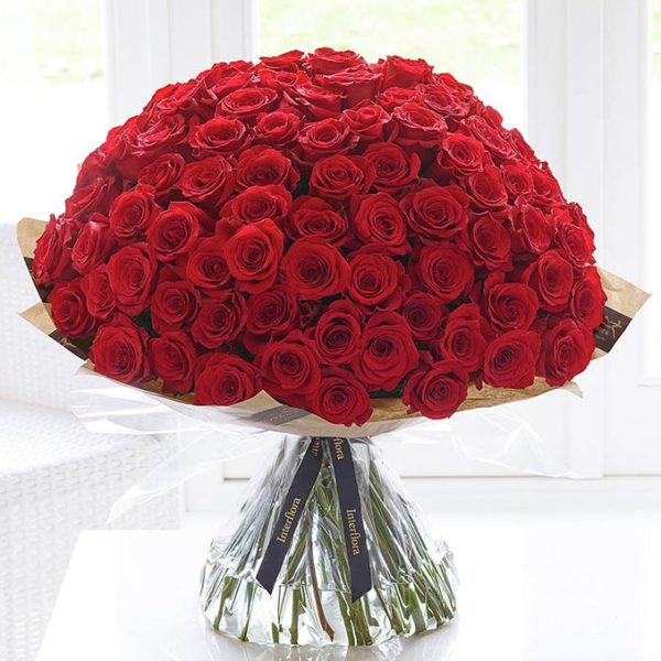 Valentines Ultimate 100 Rose Hand-Tied