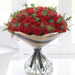 Valentines Unforgettable 50 Rose Hand-Tied