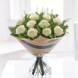 Valentines White Roses Hand-tied