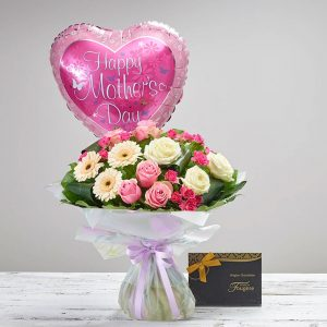 Mother's Day - Magestic Hand-tied with Balloon & Chocolates